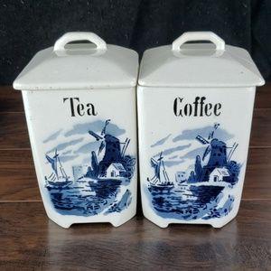 Lilli Delft German Tea & Coffee Canisters.